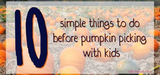 10 simple things to do before pumpkin picking with kids in blue text on a pumpkin patch background