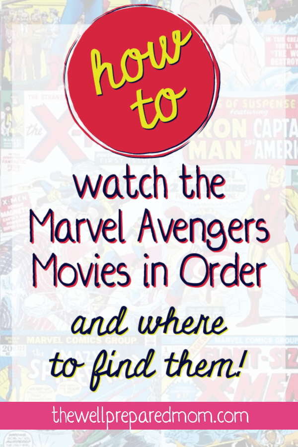 hot to watch the marvel avengers movies in order and where to find them text with marvel comic books background