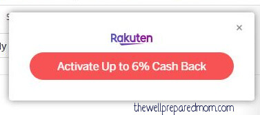 screenshot of the activation button for a Rakuten account