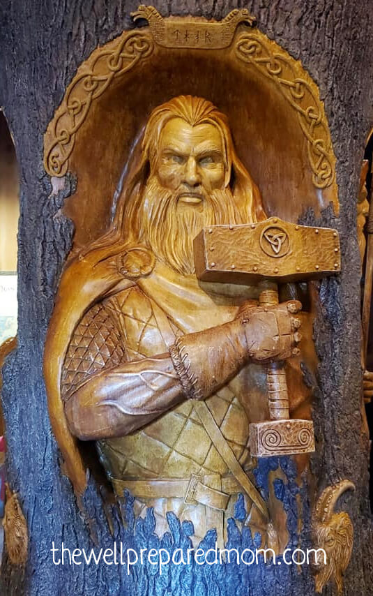 Thor sculpture in the Norway Pavilion in EPCOT, Walt Disney World