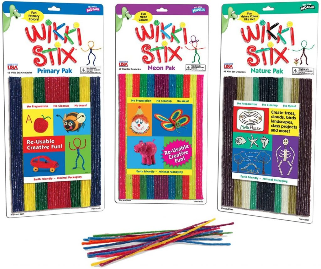 three sets of WikkiStix - primary pack, neon pack, and nature pack