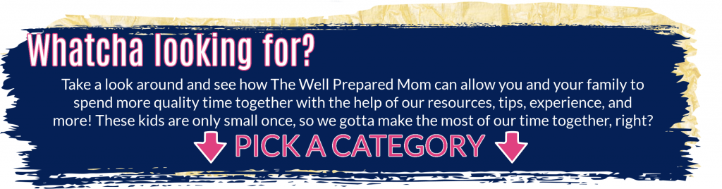 Whatcha looking for? Take a look around and see how The Well Prepared Mom can allow you and your family to spend more quality time together with the help of our resources, tips, experience, and more! These kids are only small once, so we gotta make the most of our time together, right? Pick a category.